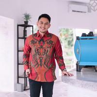 baju kemeja batik pria bahan doby lengan panjang modern pesta kantoran