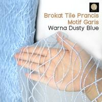 1/2 meter Kain Brokat Tile Bahan Kebaya Motif Garis Warna Dusty Blue