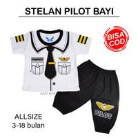 [BISA COD] Stelan Captain Pilot Bayi 3-18 Bulan / Baju Pilot Anak