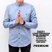 5031 Baju Hem Panjang Casual Biru Muda Kemeja Polos Grosir Murah