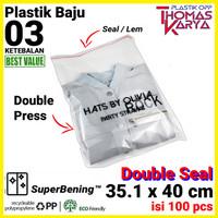 Plastik OPP LEM TIPIS 35.1x40 cm DOUBLE SEAL Packing Baju jaket kemeja