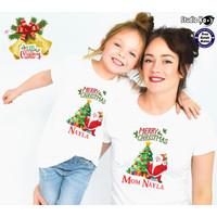Baju Kaos PUTIH Couple NATAL Ibu & Anak - Free cetak nama