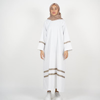 Abaya Gamis Classic White Etnic Stripes Katun Premium Quality