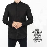 5139 Kemeja Panjang Slimfit Hitam Polos Black Simple Distro Grosir