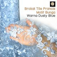 1/2 meter Kain Brokat Tile Bahan Kebaya Motif Bunga Warna Dusty Blue