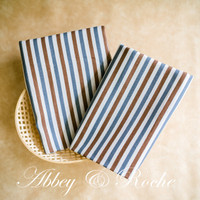 Kain Kanvas Impor motif Brown Blue Stripes