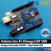 Arduino Uno R3 ATMega328P SMD - Antarmuka CH340G (tanpa kabel USB)