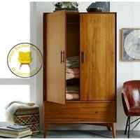 lemari pakaian 2 pintu minimalis retro bahan jati jepara