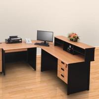 Meja kantor Uno bentuk L Uk meja utama 120cm dgn joint table beech.
