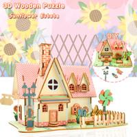 Wooden Puzzle 3D SUNFLOWER FAM - Puzzle Kayu Bentuk Rumah 3D   B-032