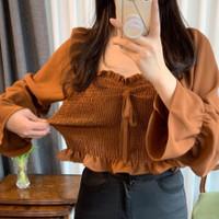 sabrina blouse kerut karet atasan baju wanita bluss pantai anak remaja