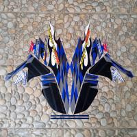 stiker striping motor Honda supra fit R 2006 biru