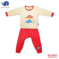 Baby Kenaz Red Dino Setelan Piyama Anak Bayi Kancing Pundak 6-12 Bulan