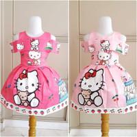 milanberry HELLO KITTY SABRINA DRESS BAJU ANAK PEREMPUAN pesta gaun - Soft Pink, Size 100