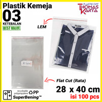 28x40 cm Plastik OPP TIPIS (LEM) | Plastik OPP Baju | Plastik Celana