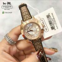(100% ORIGINAL) Jam Tangan COACH Leather Rose Gold Wanita 35mm