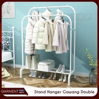 Stand Hanger Besi Double Butik Rak Gantungan Baju Besi Pakaian 2 Tiang