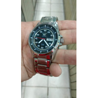 jam tangan pria sport quartz stainles steel afa tanggal dan hari