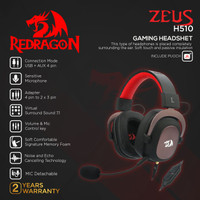 Redragon Gaming Headset 7.1 with Microphone USB AUX ZEUS 2 - H510