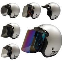 helm retro jpn arc visor flat (silver doff) - tanpa kaca, M