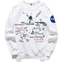 Baju sweatshirt NASA terbaru-Kaos Pria Lengan Panjang keren kekinian