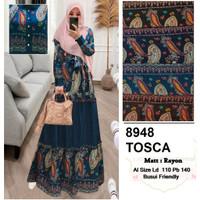 Gamis busui jumbo fit XXL LD 110 dress katun rayon adem batik ethnic