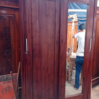 😃free ongkir lemari pakaian jati asli 2 pintu sliding