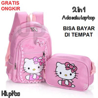 Tas Ransel Anak Sekolah TK SD Cewek Perempuan Hello Kitty 2in1 Murah 3