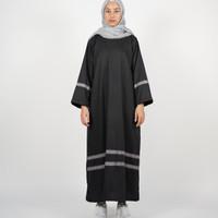 Abaya Gamis Classic Black Etnic Stripes Katun Premium Quality