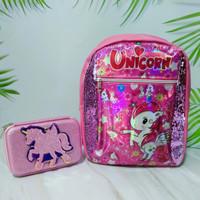 Tas ransel sekolah manik sequin hologram anak SD + PC Smiggle unicorn - Merah Muda
