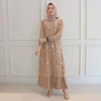 Baju Gamis Syari Wanita Terbaru Alma Maxi Dress Brukat Termurah
