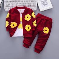 Setelan celana anak perempuan 3in1 matahari/fashion kids/baju anak/new