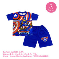 Baju Setelan Anak Laki-Laki Pendek Full Print Captain America Shirton