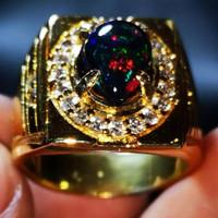 Batu Akik Asli Natural Black Opal Kembang Jarong Cutting High Quality - 6