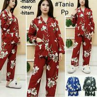 piyama wanita dewasa motif bunga pajamas setelan baju tidur katun