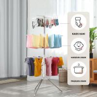 Jemuran Baju Bayi Dan Anak Lipat Portable Tiga Susun / Stand Hanger