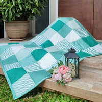 Bed Cover-Single Patchworkquilt 145 x 205 cm Warna Hijau