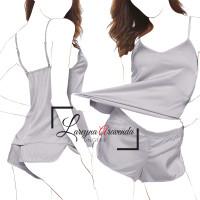 Setelan Baju Tidur Simple Celana Pendek Model Satin Polos DS010