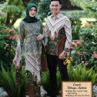 Kebaya Brukat Modern Batik Couple Atasan Muslim Stelan Pesta Lamaran
