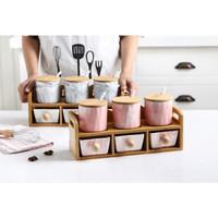 Set Tempat Bumbu Keramik Motif Marble + Tatakan Kayu