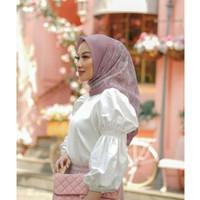 Terbaru Hijab Segiempat Motif New York Pink | Jilbab Segiempat Motif