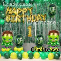 set paket balon anak ulang tahun hulk dekorasi pesta birthday avengers - umur 9