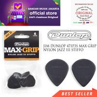 JIM DUNLOP 471P3S MAX GRIP Nylon JAZZ III STIFFO GUITAR PICK