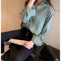 Kemeja wanita korea-top korea/ blouse wanita satin-KMJSLK2