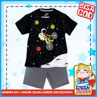 Baju anak laki-laki / Setelan anak laki-laki motif Astronot Black 1-10 - 1-2 tahun