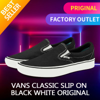 Vans Classic Slip On Black White Original - 40