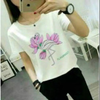kaos flaminggo atasan tshirt baju wanita flamingo tee t shirt casual
