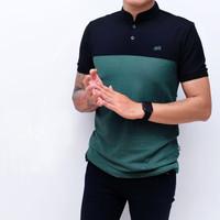 Kaos Polo Shirt Pria | Baju Cowok Polo Kerah Mix Hitam Hijau