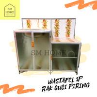 Rak Cuci Piring Wastafel Aluminium 3pintu Full Keramik Meja Kompor