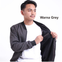 Jaket Bomber Pria Premium Brand Local Size M-XXL - Grey, M